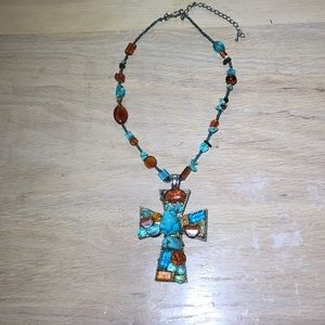 CROSS NECKLACE - Turquoise Details ☮️❤️👗